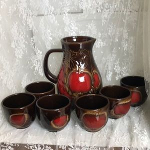 Vintage W. Germany Apple Pitcher with 6 Cups